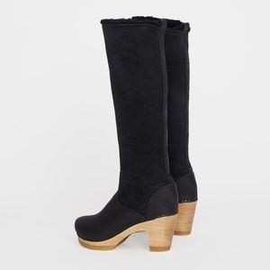 Pull on Shearling Boot on High Heel in Black Suede